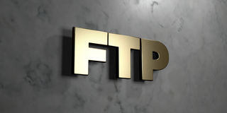 Ftp - Gold sign mounted on glossy marble wall  - 3D rendered royalty free stock illustration Royalty Free Stock Image