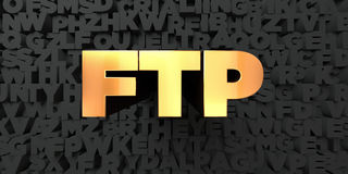 Ftp - Gold text on black background - 3D rendered royalty free stock picture Stock Photos