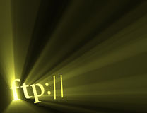 Ftp internet hyper link sign light flare. Ftp:// symbol (for indicating server url) with powerful sun light halo. Extended flares for cropping royalty free illustration