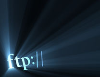 Ftp internet hyper link sign light flare. Ftp:// symbol (for indicating server url) with powerful blue light halo. Extended flares for cropping vector illustration