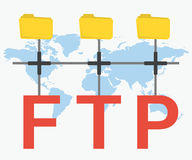 FTP letters and three folders Stock Images
