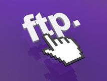 FTP link. An illustration of a FTP link and hand shaped mouse cursor on top Royalty Free Stock Photo
