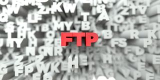 FTP -  Red text on typography background - 3D rendered royalty free stock image Stock Photography