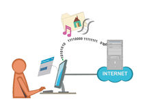FTP Technical Illustration. A user downloading multimedia files from a FTP server Stock Photography