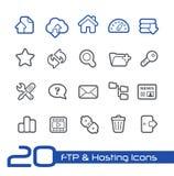 Ftp- u. Hosting-Ikonen//-Linie Reihe Lizenzfreies Stockfoto