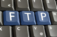 FTP written on computer keyboard Royalty Free Stock Images