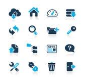 Ftp y recibimiento de serie del azul de // de los iconos stock de ilustración