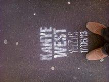 Fuß auf Kanye West Stockfoto