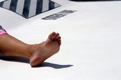 Fuß an Bord Stockbild