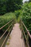 Fuß-Brücke in dichtes Laub Stockfotos