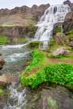 Am Fuß eines Wasserfalls Dynjandi, Island Stockfoto