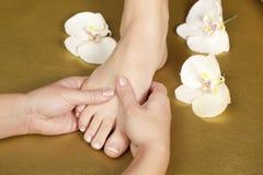 Fuß pedicure und der französischen Maniküre Nägel Lizenzfreie Stockfotografie