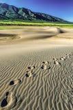 Fuß tritt in den Sand mit Sangre de Cristo Mountains Stockfotos