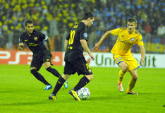 Fußbalabgleichung FC BEIZBRÜHE - FC Barcelona Stockbild