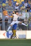 Fußballüberschriftsduell Stockbild