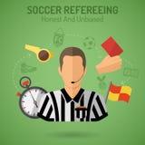 Fußball-Als Schiedsrichter fungieren Stockfotos