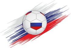 Fußball auf dem Hintergrund von Streifen in Form von der russischen Flagge stock abbildung