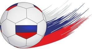 Fußball auf dem Hintergrund von Streifen in Form von der russischen Flagge vektor abbildung
