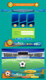 Fußball auf der Strafstelle am Stadion und Schnittstelle für Spiel - Datei des Vektor Stockfotografie