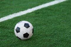 Fußball auf einem Gras des Stadions Lizenzfreies Stockbild