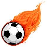 Fußball auf Feuer Lizenzfreies Stockbild