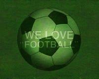 Fußball auf Grasfeld mit Text Stockfotos