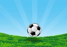 Fußball auf Rasenfläche mit blauer Himmelvektor-Illustration Stockfotos