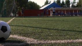 Fußball auf Spielplatzecke des grünen Grases stock video