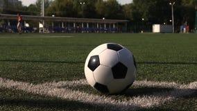 Fußball auf Spielplatzecke des grünen Grases stock footage