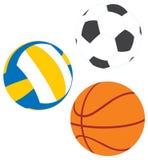 Fußball, Basketball, Volleyball Stockbild