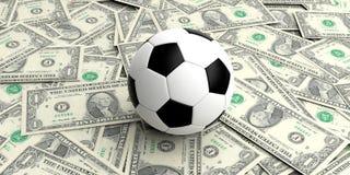 Fußball der Wiedergabe 3d auf den ein-Dollar-Banknoten lizenzfreie abbildung