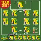 Fußball des Fußballs Team Sheets Stockfotos