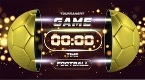 Fußball-Fahne mit goldenem Ball 3d Fußballspiel-Matchdesign mit Timer oder Anzeigetafel Halber Fußballball Ball geteilt Lizenzfreie Stockfotos