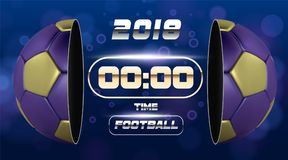 Fußball-Fahne mit goldenem blauem Ball 3d Fußballspiel-Matchdesign mit Timer oder Anzeigetafel Halber Fußballball Ball Stockfotografie