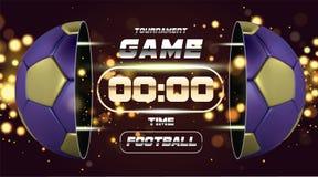 Fußball-Fahne mit goldenem blauem Ball 3d Fußballspiel-Matchdesign mit Timer oder Anzeigetafel Halber Fußballball Ball Lizenzfreie Stockfotos