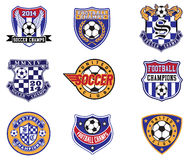 Fußball-Fußball-Ausweise, Flecken und Emblem-Vektor-Satz lizenzfreie abbildung
