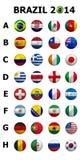 Fußball-Fußball-Meisterschaft 2014 Brasilien gruppiert A bis H nati 32 lizenzfreie abbildung