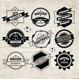 Fußball-Fußball-Typografie-Ausweis-Gestaltungselement Stockbild