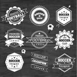 Fußball-Fußball-Typografie-Ausweis-Gestaltungselement Stockfotos