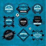 Fußball-Fußball-Typografie-Ausweis-Gestaltungselement Lizenzfreies Stockfoto