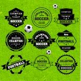 Fußball-Fußball-Typografie-Ausweis-Gestaltungselement Lizenzfreie Stockbilder
