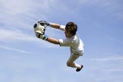 Fußball-Fußball-Ziel-Wächter, der außer bildet Stockbild