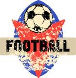 Fußball-/Fußballlogo, grungy Retrostil, Stockfoto