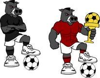 Fußball futbol starker wilder Brüllen-Karikatursatz Lizenzfreies Stockbild