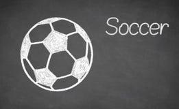Fußball gezeichnet auf Tafel Stockfotografie