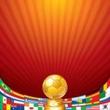 Fußball-Hintergrund. Cup mit Flagge von Nationalmannschaften Lizenzfreies Stockbild