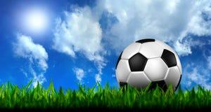 Fußball im grünen Gras über einem blauen Himmel Stockfotos