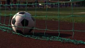 Fußball im Tor auf Spielplatz des grünen Grases stock video footage