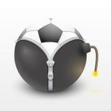 Fußball innerhalb eines brennenden Bombenvektors stock abbildung