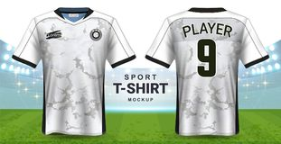 Fußball Jersey und Sportkleidungs-T-Shirt Modell-Schablone, realistisches Grafikdesign-vordere und hintere Ansicht für Fußball Ki lizenzfreie abbildung